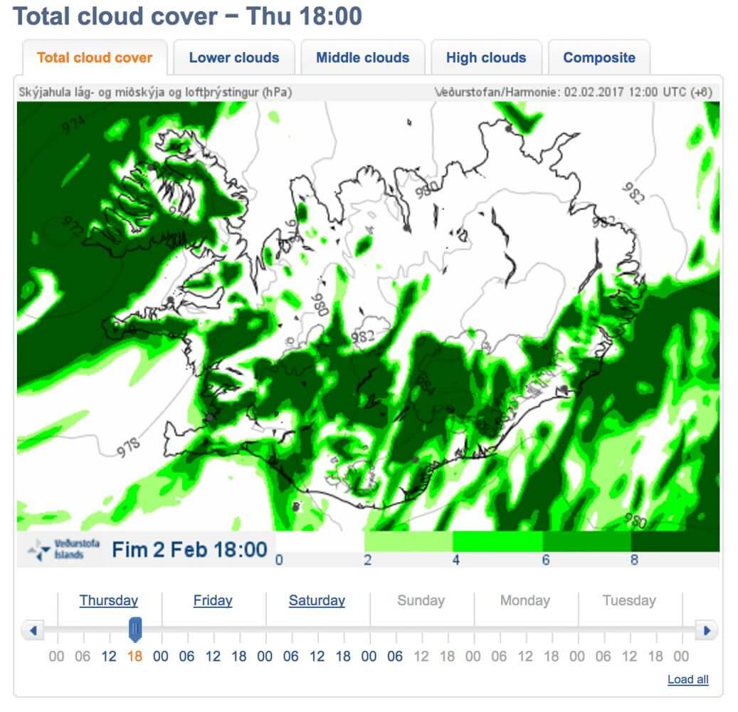 previsioni aurora boreale islanda